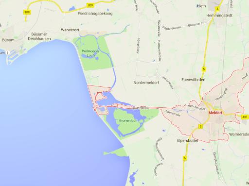 Googlemaps-Karte Meldorf und Speicherkoog